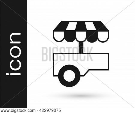 Black Fast Street Food Cart With Awning Icon Isolated On White Background. Urban Kiosk. Vector