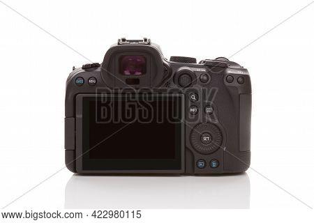 Bratislava, Slovakia - April 10, 2021: Canon Eos R6 Back Isolated On White Background.