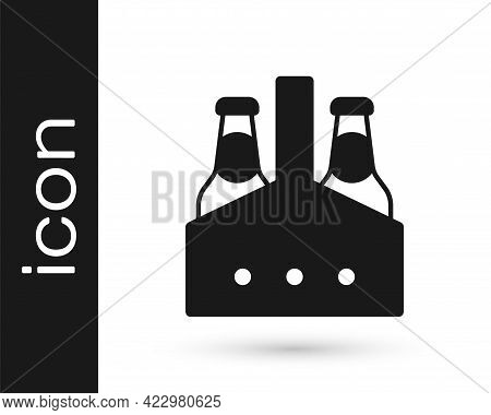 Black Pack Of Beer Bottles Icon Isolated On White Background. Case Crate Beer Box Sign. Vector