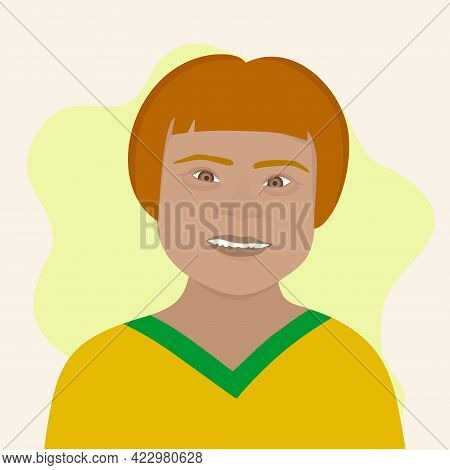 Down Syndrome, Vector Illustration Of A Girl In A Yellow Jacket On A Light Background