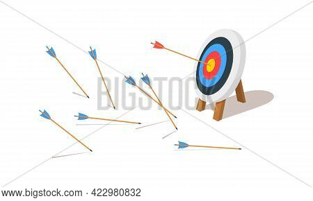 Archery Target Ring With One Hitting And Many Missed Arrows. Dartboard On Tripod. Goal Achieving Ide