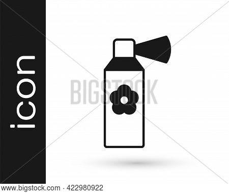 Black Air Freshener Spray Bottle Icon Isolated On White Background. Air Freshener Aerosol Bottle. Ve