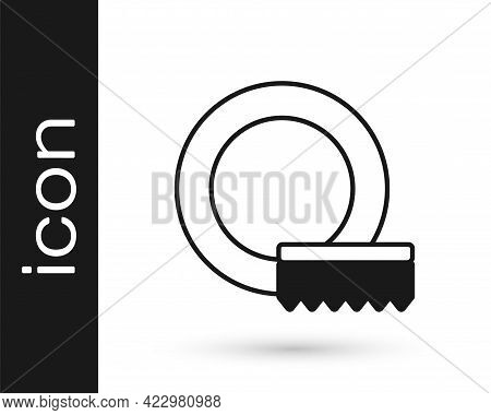 Black Washing Dishes Icon Isolated On White Background. Cleaning Dishes Icon. Dishwasher Sign. Clean