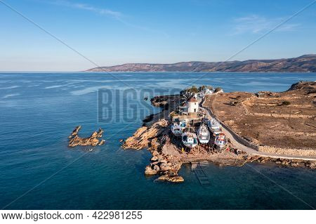 Traditional Shipyard For Fishing Boats, Koufonisi Island, Cyclades, Greece. Aerial Drone View.