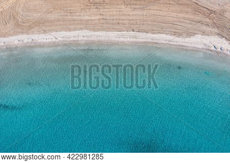 Greece, Cyclades. Sandy Beach Turquoise Color Sea Water Aerial Drone View