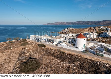 Traditional Windmill In Koufonisi Island, Cyclades, Greece. Aerial Drone View.