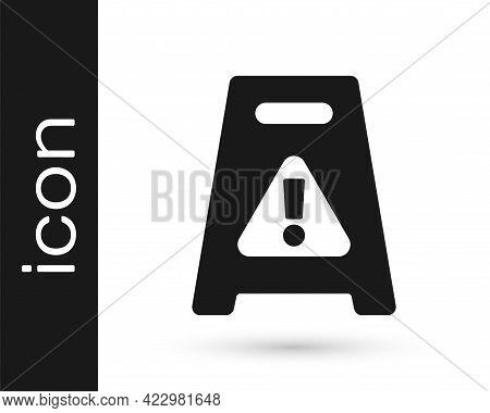 Black Wet Floor And Cleaning In Progress Icon Isolated On White Background. Cleaning Service Concept