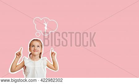 Baby Girl Dreaming About Dancing Ballet. Childhood And Dream Concept. Conceptual Image