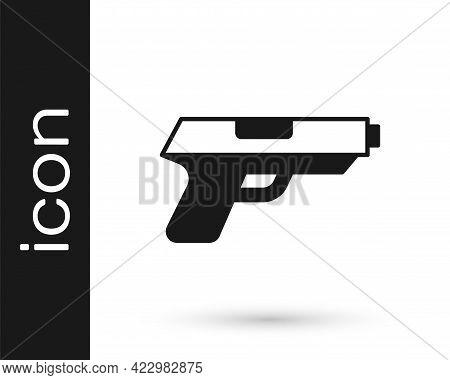 Black Pistol Or Gun Icon Isolated On White Background. Police Or Military Handgun. Small Firearm. Ve