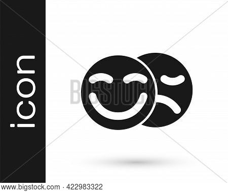 Black Comedy And Tragedy Theatrical Masks Icon Isolated On White Background. Vector