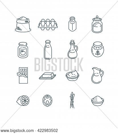 Ingredients For Baking At Home. Raw Products For Preparing Homemade Pastry. Thin Line Icons. Simple