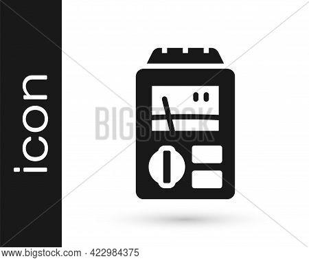 Black Dosimeter For Measuring Radiation Icon Isolated On White Background. Gamma Radiation Personal