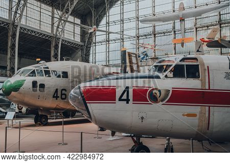Brussels, Belgium - August 17, 2019: Aircrafts Inside Aviation Hall Of The Royal Museum Of The Armed
