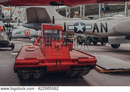 Brussels, Belgium - August 17, 2019: Exhibits Inside The Royal Museum Of The Armed Forces And Milita