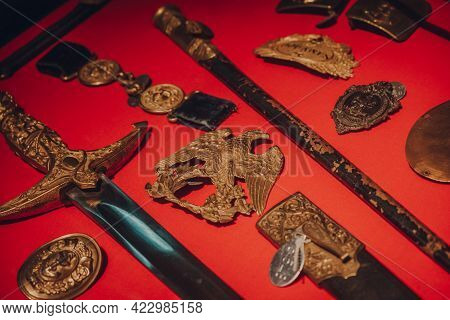 Brussels, Belgium - August 17, 2019: Close Up Of Belgian Military Exhibits In The Royal Museum Of Th