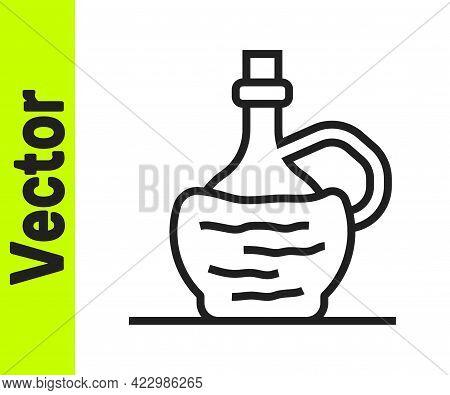 Black Line Wine In Italian Fiasco Bottle Icon Isolated On White Background. Wine Bottle In A Rattan