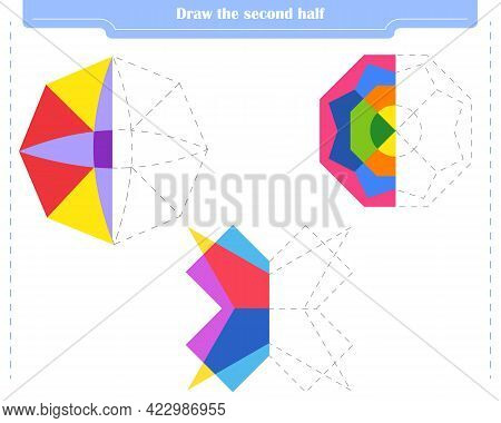Educational Game For Children. Circle And Color The Second Part Of The Shapes.