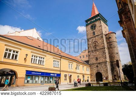 Medieval Gothic Tower With Gallery And Clock, Valdice Gate Or Valdicka Brana, Historical Center, Ren