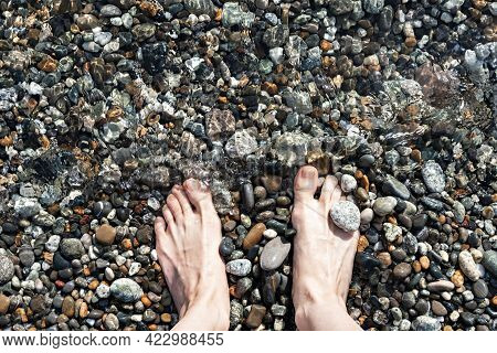 Female Feet In Sea Water On A Pebble Shore Top View In Summer, Many Pebbles, Copy Space, Relaxation