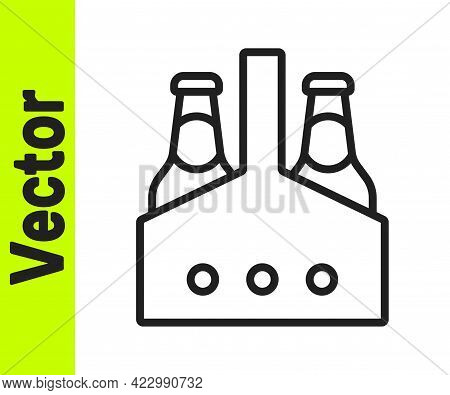 Black Line Pack Of Beer Bottles Icon Isolated On White Background. Case Crate Beer Box Sign. Vector