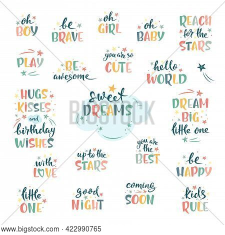 Nursery Hand Lettering Set. Cute Colorful Text With Stars, Clouds And Decorative Isolated Elements.