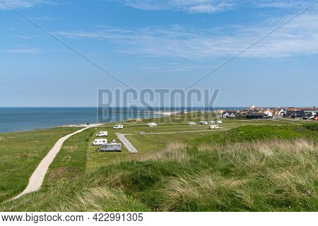 Hirtshals, Denmark - 4 June, 2021: Picturesque Campground And Rv Park On The Shores Of North Jutland
