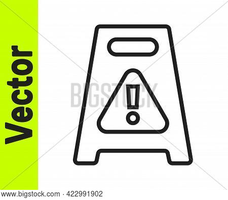 Black Line Wet Floor And Cleaning In Progress Icon Isolated On White Background. Cleaning Service Co