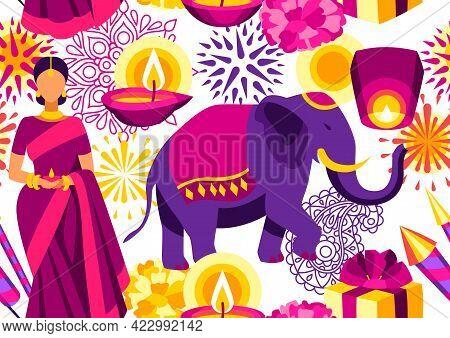 Happy Diwali Seamless Pattern. Deepavali Or Dipavali Festival Of Lights.