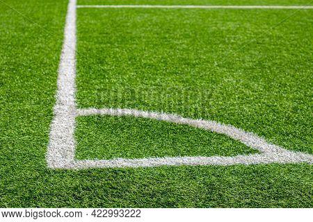 Corner White Marking Of A Football Green Field. Corner Kick.