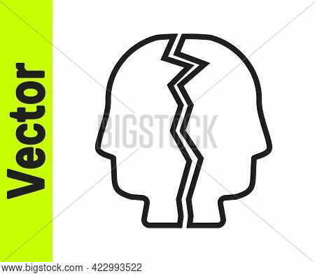 Black Line Bipolar Disorder Icon Isolated On White Background. Vector