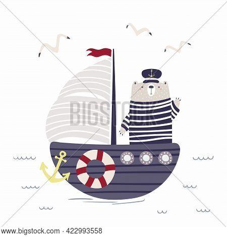 Cute Bear Sailor On A Ship, Sailboat, Gulls, Waves, Isolated On White. Sea, Ocean Landscape. Hand Dr