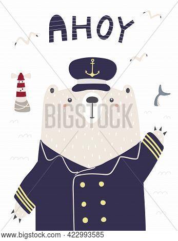 Cute Funny Bear Sailor, Captain, Lighthouse, Gulls, Shark Tail, Text Ahoy. Hand Drawn Vector Illustr
