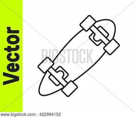 Black Line Longboard Or Skateboard Cruiser Icon Isolated On White Background. Extreme Sport. Sport E