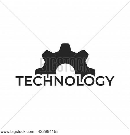 Technology Logo. Mechanical Gear Icon. Production And Industry Symbol