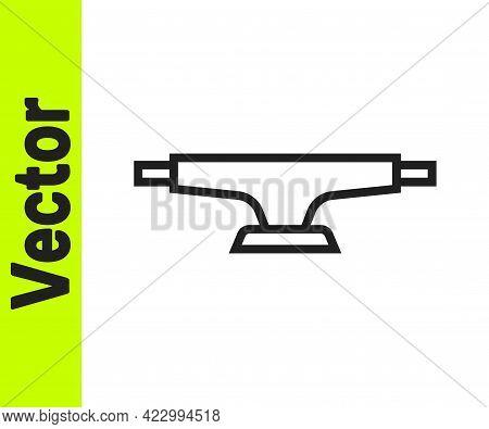 Black Line Skateboard Wheel Icon Isolated On White Background. Skateboard Suspension. Skate Wheel. V