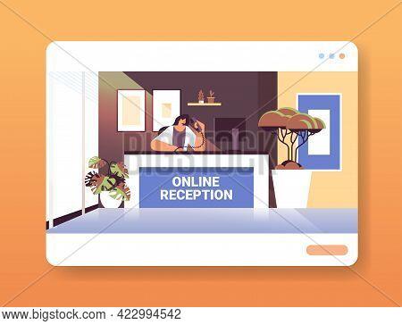 Woman Receptionist At Online Reception Desk Horizontal