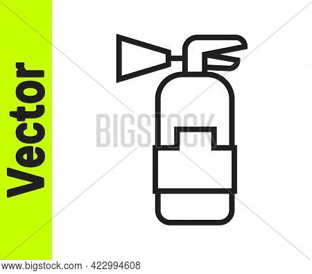 Black Line Fire Extinguisher Icon Isolated On White Background. Vector