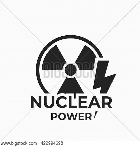 Nuclear Power Icon. Electricity And Energy Industry Symbol. Isolated Vector Image