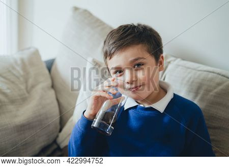 Portrait Schoolboy Drinking Soda Or Soft Drink With Glass,child Enjoying Cold Fizzy Dink While Watch