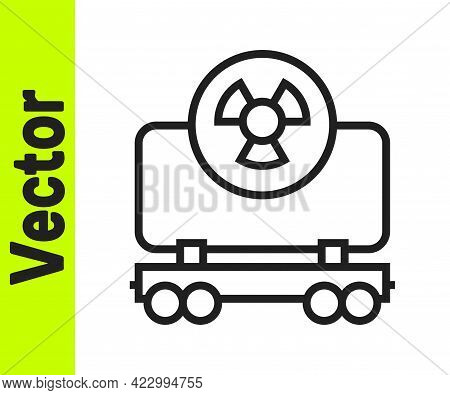 Black Line Radioactive Cargo Train Wagon Icon Isolated On White Background. Freight Car. Railroad Tr