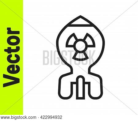 Black Line Nuclear Bomb Icon Isolated On White Background. Rocket Bomb Flies Down. Vector