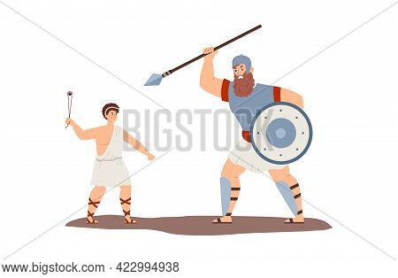 Battle Of Biblical David And Giant Goliath, Flat Vector Illustration Isolated.