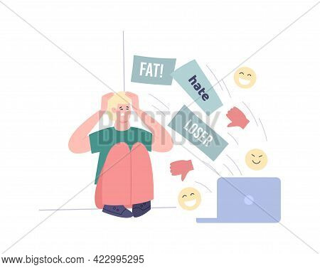 Upset Young Man Or Teen Near Laptop With Dislikes, Flat Vector Illustration.