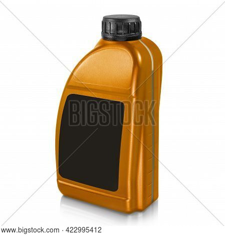 Plastic Canister Isolated On White Background. Canister In Gold Color With Black Label And Black Lid
