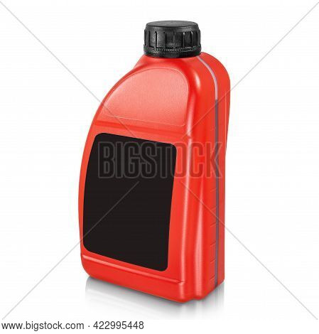 Plastic Canister Isolated On White Background. Red Canister With Black Label And Black Cap. Mockup O