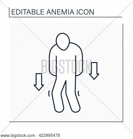 Anemia Line Icon. Disease Symptoms.weakness. Low Hemoglobin, Fast Tiredness. Health Protection Conce