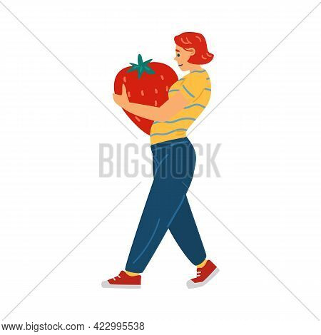 Woman Carrying Huge Strawberry In Hands, Flat Vector Illustration Isolated.