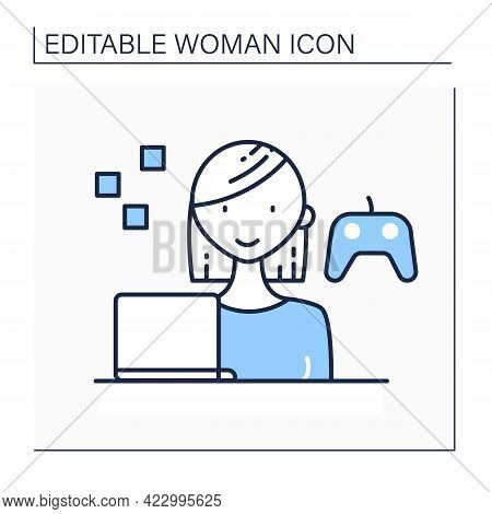 Gamer Line Icon. Woman Plays Interactive Games, Especially Video Games, Tabletop Role-playing. Havin