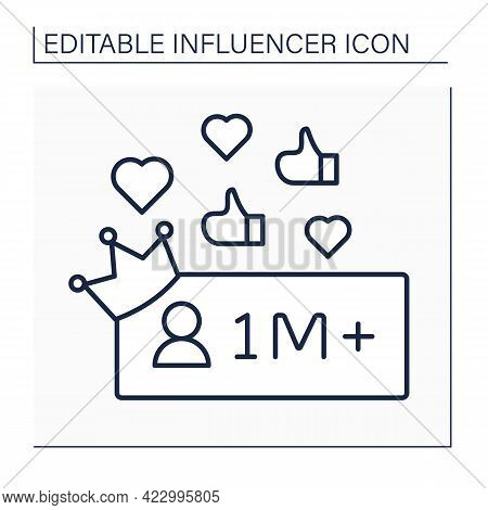 Followers Line Icon. Million Plus Subscribers.high Influence On People. Mega Influencer. Celebrity.