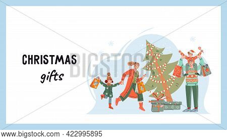 Web Banner With Family Running Shopping To Buy Gifts For Christmas Or New Year. Web Page For Christm